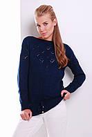 Однотонный женский вязаный свитер с завязками цвет темно-синий