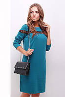 Женское трикотажное нарядное платье с длинным рукавом со вставками кружева цвет бирюза