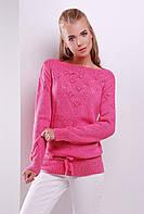 Однотонный женский вязаный свитер с завязками цвет розовый