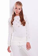 Однотонный женский вязаный свитер с завязками цвет молоко