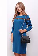 Женское трикотажное нарядное платье с длинным рукавом со вставками кружева цвет волна