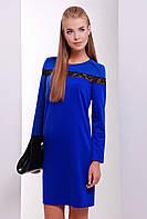 Женское трикотажное нарядное платье с длинным рукавом со вставками кружева цвет электрик