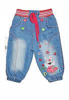 Детские светло голубые джинсы для девочки с кроликом