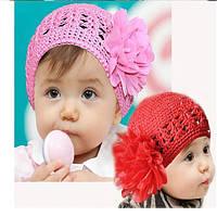 Детская вязанная шапка с бантом