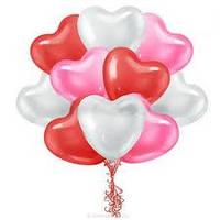 """Гелиевые шары 25"""" (65 см) сердце ассорти"""