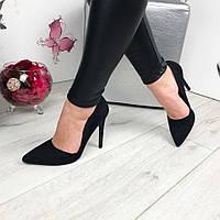 Женские туфли лодочки черные замшевые с вырезом Zara (реплика)