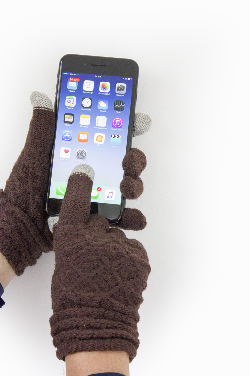Женские сенсорные перчатки Вязка Коричневые