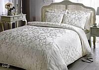 Комплект постельного белья Tivolyo Home жаккард AMELFI Молочный евро