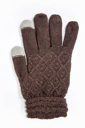Женские сенсорные перчатки Вязка Коричневые, фото 2