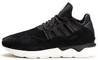 """Мужские кроссовки Adidas Originals Tubular Moc Runner """"Core Black"""" (Адидас Тубулар) замшевые черные"""