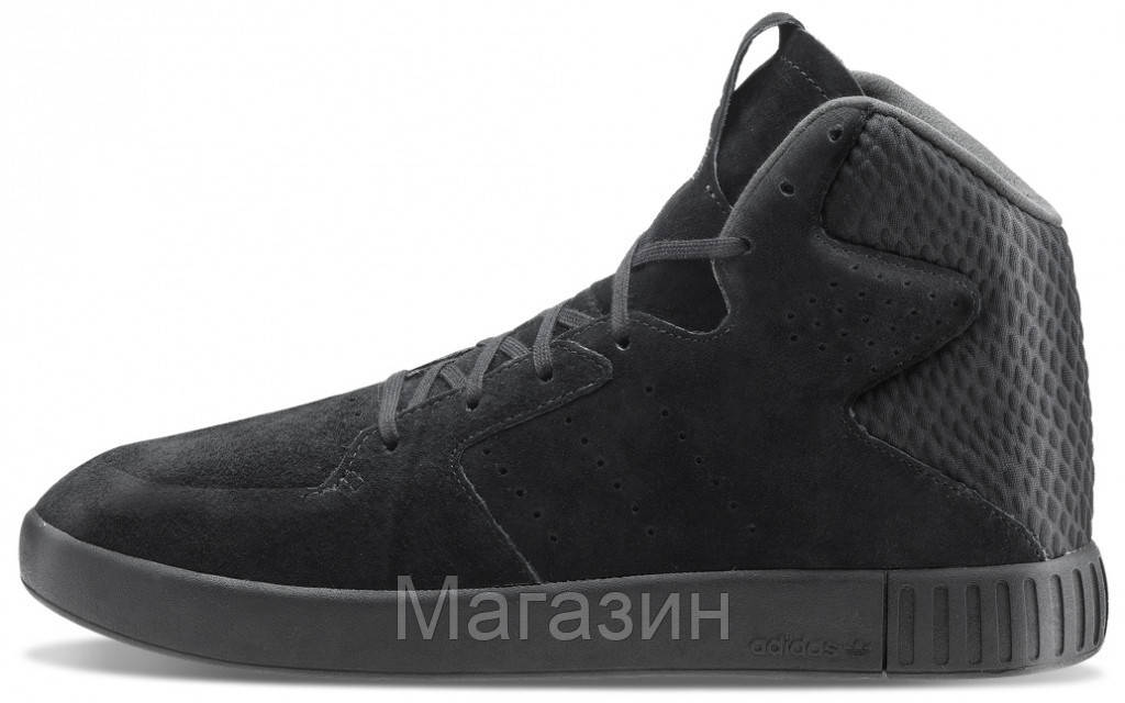 Мужские высокие кроссовки Adidas Originals Tubular Invader Адидас Тубулар черные