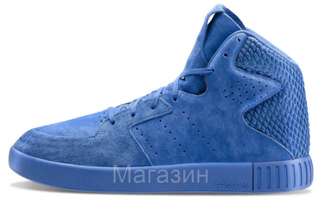 Мужские высокие кроссовки Adidas Originals Tubular Invader Адидас Тубулар синие