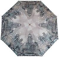 Удобный женский зонт, полуавтомат ZEST (ЗЕСТ) Z24665-4069 Города, серый