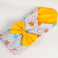 """Летний конверт - одеяло на выписку """"Веселые совы"""" оранжевый с серым, 80см х 85см"""