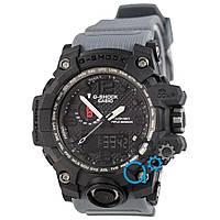 Черные часы casio g-shock с серым ремешком, часы касио