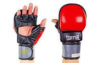 Перчатки для смешанных единоборств Matsa кожаные черно-красные