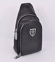Кожаная сумка-слинг через плечо, бананка Philipp Plein 826 черная, фото 1