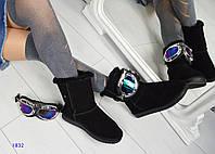 Угги женские со съемными лыжными очками  черные