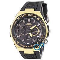 Золотистые часы casio g-shock с черным ремешком, часы касио