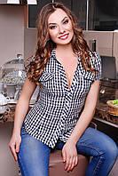 Клетчатая женская рубашка короткий рукав с двумя кармашками черно-белая