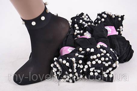 Носки женские капроновые с бусинками Черный (C239/BL/2000)   2000 пар, фото 2