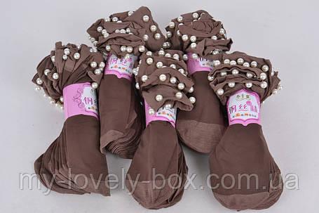 Носки женские капроновые с бусинками Шоколад (C239/CH/2000) | 2000 пар, фото 2