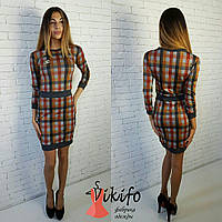Трикотажное платье с узором квадраты