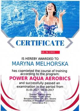 Образец сертификата на английском языке по силовой аквааэробике в школе Олимпия