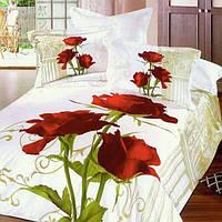 Постельное белье комплект Love You сатин Роза полуторный
