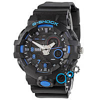 Черные с синим часы casio g-shock, часы касио