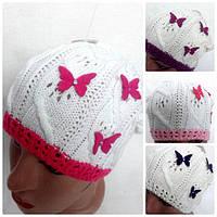 Ажурная вязанная шапка на девочку
