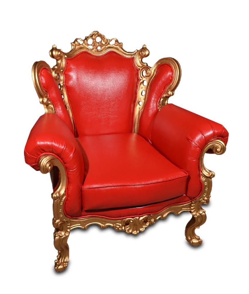 Кожаное кресло с резьбой Элия (90 см)