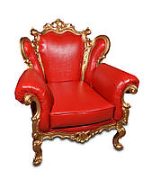 Кожаное кресло с резьбой Белла (90 см)
