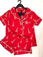 Комплект красный рубашка и шорты пижама, фото 1