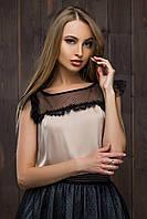 """Блузка женская шелковая без рукавов """"Миледи"""""""