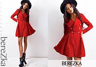 Платье модное с отложным воротником и пышной юбкой мини коттон-мемори разные цвета SMs1747, фото 1