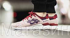 Мужские кроссовки Asics Gel Lyte 3 Асикс Гель Лайт 3 бежевые с красным, фото 2