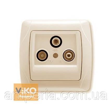 Розетка TV+sat+radio концевая крем ViKO Carmen 90562041, фото 2