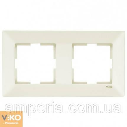 Рамка 2-я горизонтальная крем Meridian 90979012-WH, фото 2