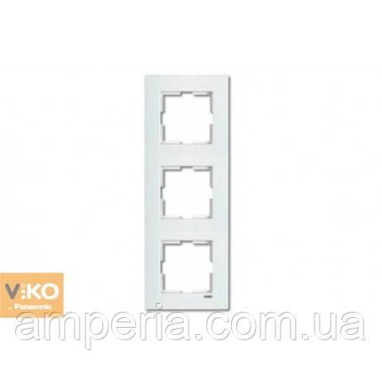 Рамка 3-я вертикальная белая ViKO Karre 90960222, фото 2