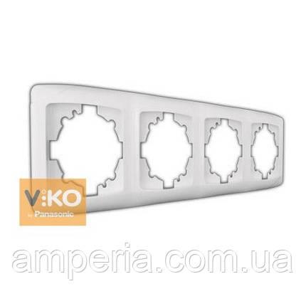 Рамка 4-я вертикальная белая ViKO Carmen 90571004, фото 2