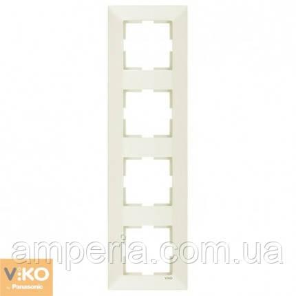 Рамка 4-я вертикальная крем Meridian 90979034-WH, фото 2