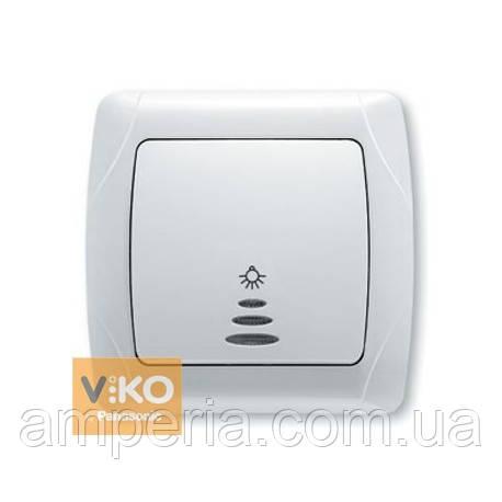 Кнопочный выключатель с подсветкой белый ViKO Carmen 90561014