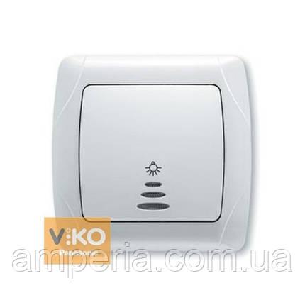 Кнопочный выключатель с подсветкой белый ViKO Carmen 90561014, фото 2