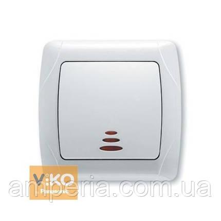 Выключатель 1-кл. с подсветкой белый ViKO Carmen 90561019, фото 2