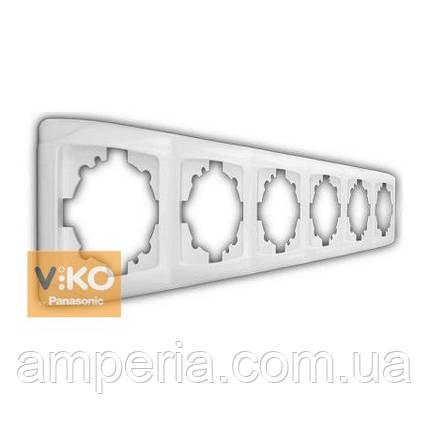 Рамка 5-я вертикальная белая ViKO Carmen 90571005, фото 2