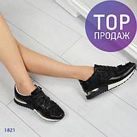Женские кроссовки Dolce & Gabbana, кожанные, черные / кроссовки женские стильные, на белой подошве