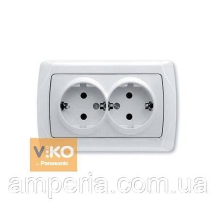 Розетка 2-ая с заземлением ViKO Carmen 90561056, фото 2