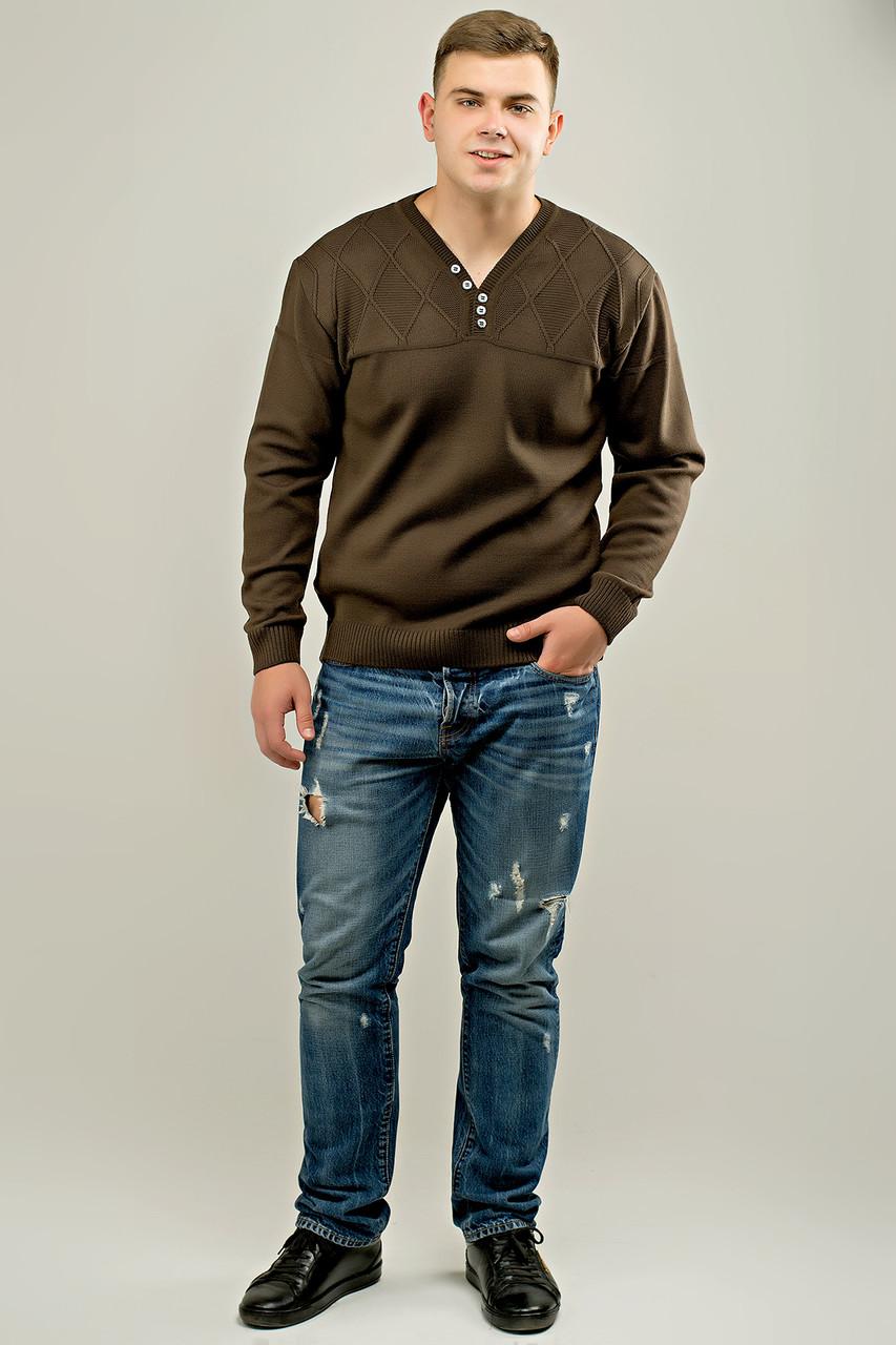 Мужской свитер с декоративными пуговицами Себостьян, цвет коричневый / размерный ряд 50,52