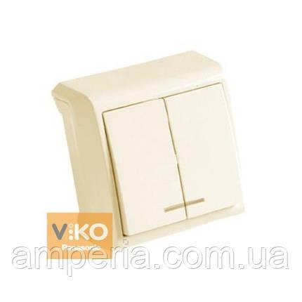 Выключатель 2-кл. крем с подсветкой ViKO Vera 90681250, фото 2